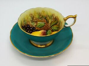 AYNSLEY-SIGNED-BY-ARTIST-D-JONES-ORCHARD-FRUITS-BLUE-amp-GOLD-TRIM-CUP-amp-SAUCER