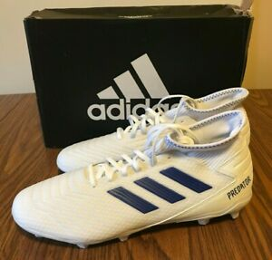 ADIDAS-BB9333-PREDATOR-19-3-FG-CLEATS-SHOES-WHITE-BLUE-MEN-039-S-US-12