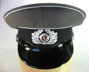 EAST-GERMAN-ENLISTED-MEN-039-S-MILITARY-ARMY-VISOR-HAT-EARLY-1980s-NEW-GRAY-BLACK-1