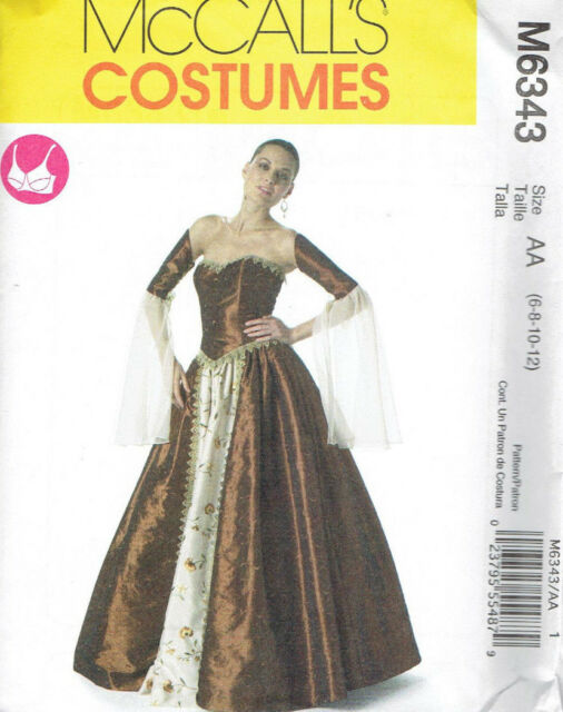 McCalls 6343 Renaissance Costume Dress Corset Medieval Size 6-12 ...