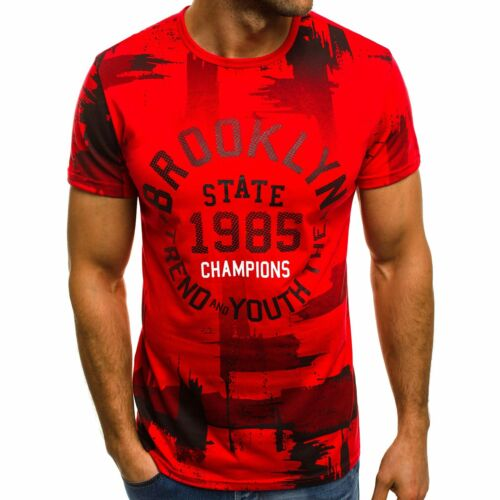 OZONEE Hommes T-shirt manches courtes Shirt Impression Col Rond Slim Fit Fitness js//ss391