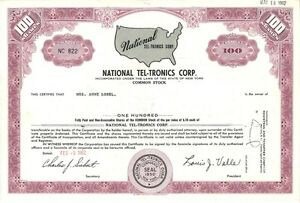 National Tel-Tronics Corp > 1962 New York old stock certificate share