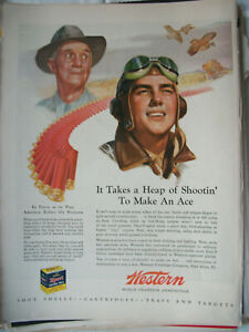 VTG-1944-Orig-Magazine-Ad-Western-Ammunition-Heap-of-Shootin-039-To-Make-An-Ace