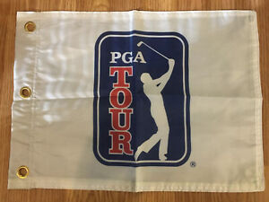 PGA-TOUR-LOGO-PIN-FLAG-WITH-GROMMETS-FREE-SHIPPING-TIGER-WOODS-AUTOGRAPHS-PHIL