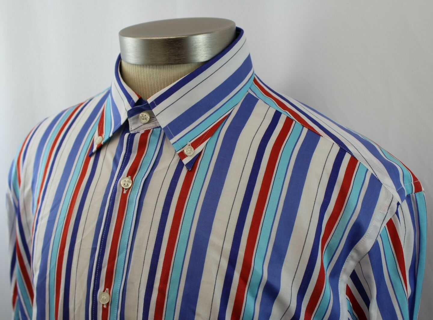 Paul & Shark Yachting Button Long Sleeve Shirt Striped Mens 42 made in