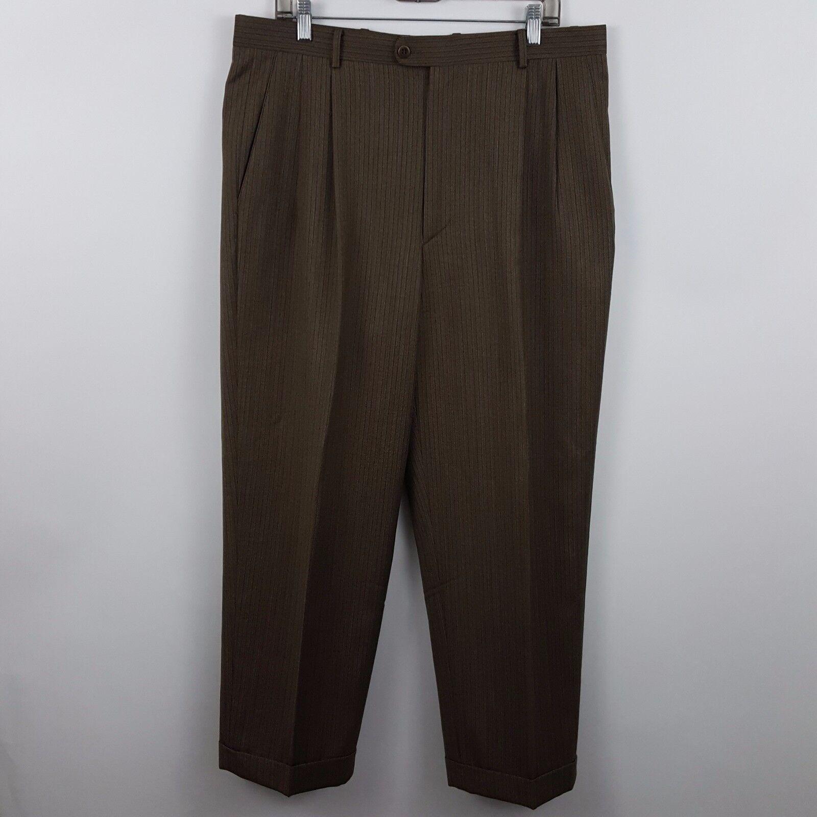 Zanella Austin Brown Stripe Herringbone Pleated Cuffed Men's Dress Pants 36 x 28