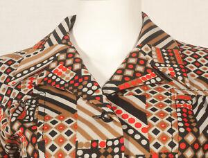 Annees-60-francais-Vintage-print-tunique-shirt-UK-12-14