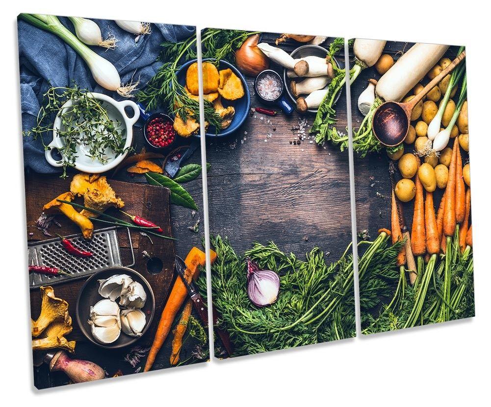 Fresh Herbs Cooking Ingrotients Picture TREBLE TREBLE TREBLE CANVAS WALL ART Print e87a6f
