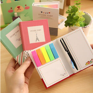 11X8-CM-Student-039-s-Diary-Notebook-Sticky-Notes-Memos-Blank-Paper-Pen