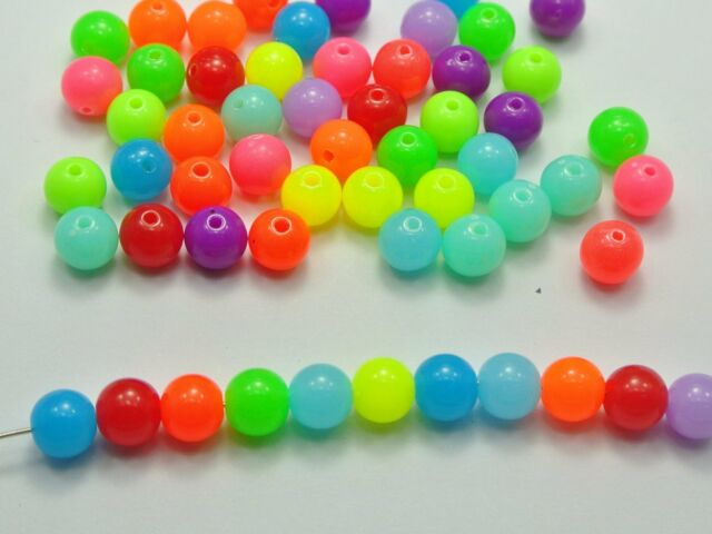 200 Mixed Neon Color Acrylic Round Beads 8mm Smooth Ball Spacer