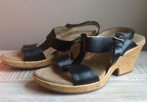 e9bf785b8ea Womens Size 9.5 Clarks Artisan Wedge Heel Sandals Black Leather