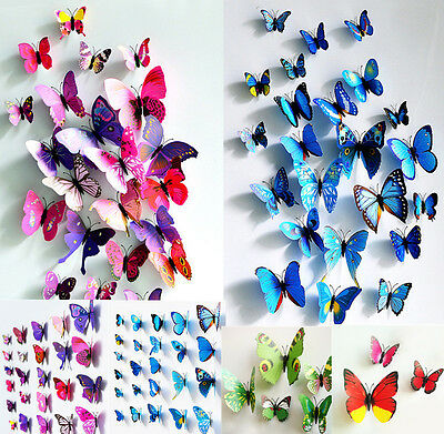 Silver 96Pcs Butterfly Wall Sticker Decal Creatiee Metallic 3D Art Mural Decoration DIY Flying Decor for Kids Bedroom Home Party Nursery Classroom Offices D/écor Removable /& Multi-Style