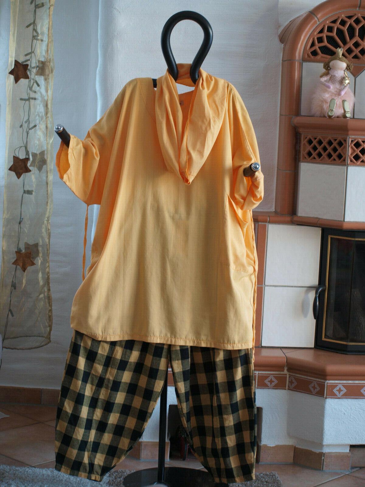 1951 LABASS Lagenlook Baumwoll Shirt mit Schal STRIPES gelb unifarben EG
