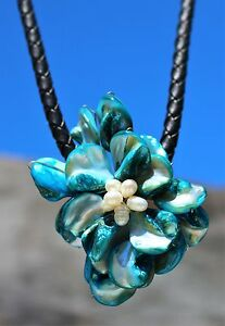Large-flower-made-from-Mother-of-pearl-shell-and-white-pearls-corded-NECKLACE