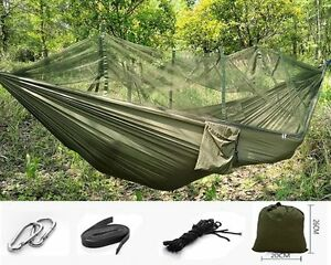 Portable Camping Hammock With Mosquito Net Swing Sleep Bed Outdoor Traveling FH