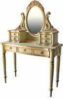 Solid Mahogany Victorian Dressing Table & Mirror 7 drawers Antique Cream & Gold