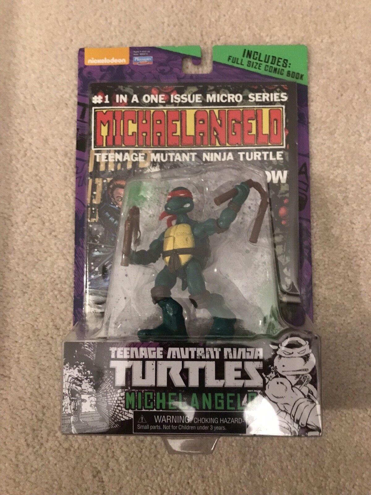 Rare Teenage Teenage Teenage Mutant Ninja Turtles Michelangelo Comic Book and Figure Set TMNT 856926