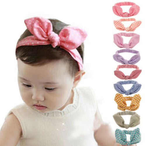Womens Baby Girls Kids Bowknot Stretch Head Wrap Elastic Hair Band Headband
