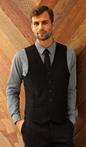 Premier Lined Polyester Black Waistcoat PR622 sizes XXS-2XL