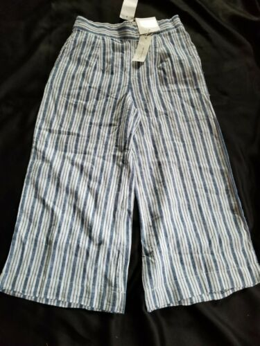 NWT Beach Lunch Lounge Women/'s Striped Linen Cropped Pants Pick Color /& Size