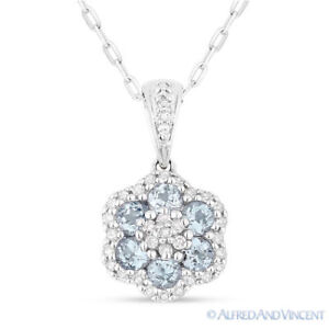 0-61-ct-Round-Cut-Blue-Topaz-Gem-Diamond-14k-White-Gold-Flower-Necklace-Pendant
