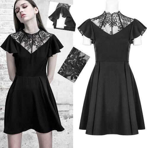 Robe patineuse gothique lolita victorien dentelle volants été PunkRave blacke