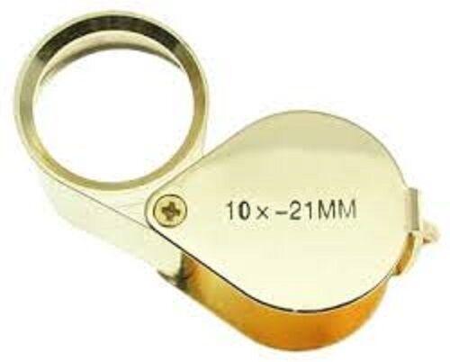 SystéMatique 10x Magnifiying Or Loupe Bijoutier 21mm Verre Lentille Avec Étui