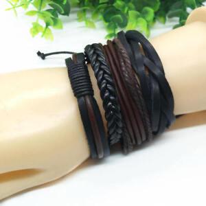 Fashion-Leather-Wrap-Braided-Wristband-Cuff-Punk-Men-Women-Bracelet-Bangle