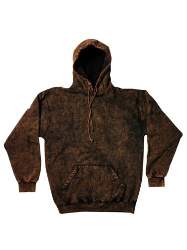 Mineral Wash Brown Hoodie S-3XL Long Sleeve Pockets Cotton No Zipper Colortone