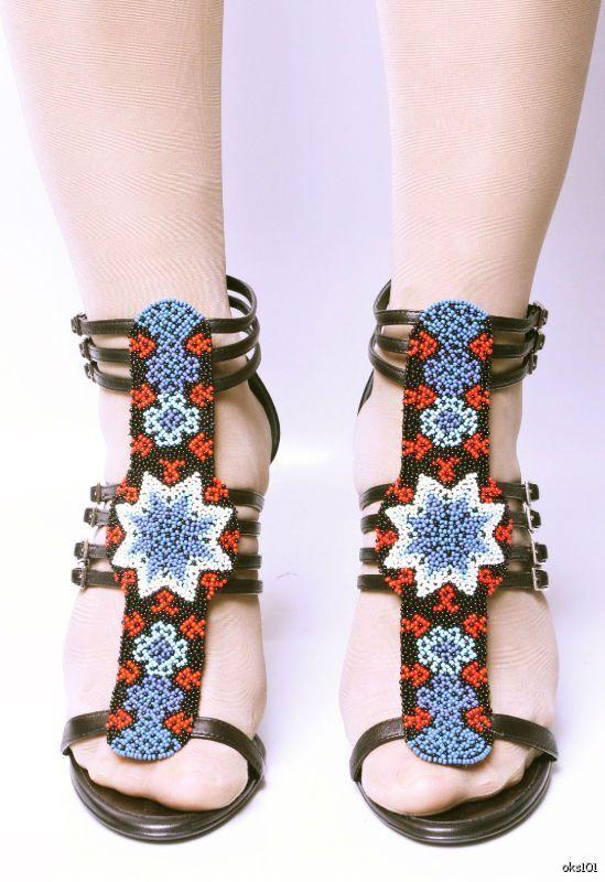 New  1295 GIUSEPPE ZANOTTI for BALMAIN black bluee BEADED Tstrap gladiator shoes