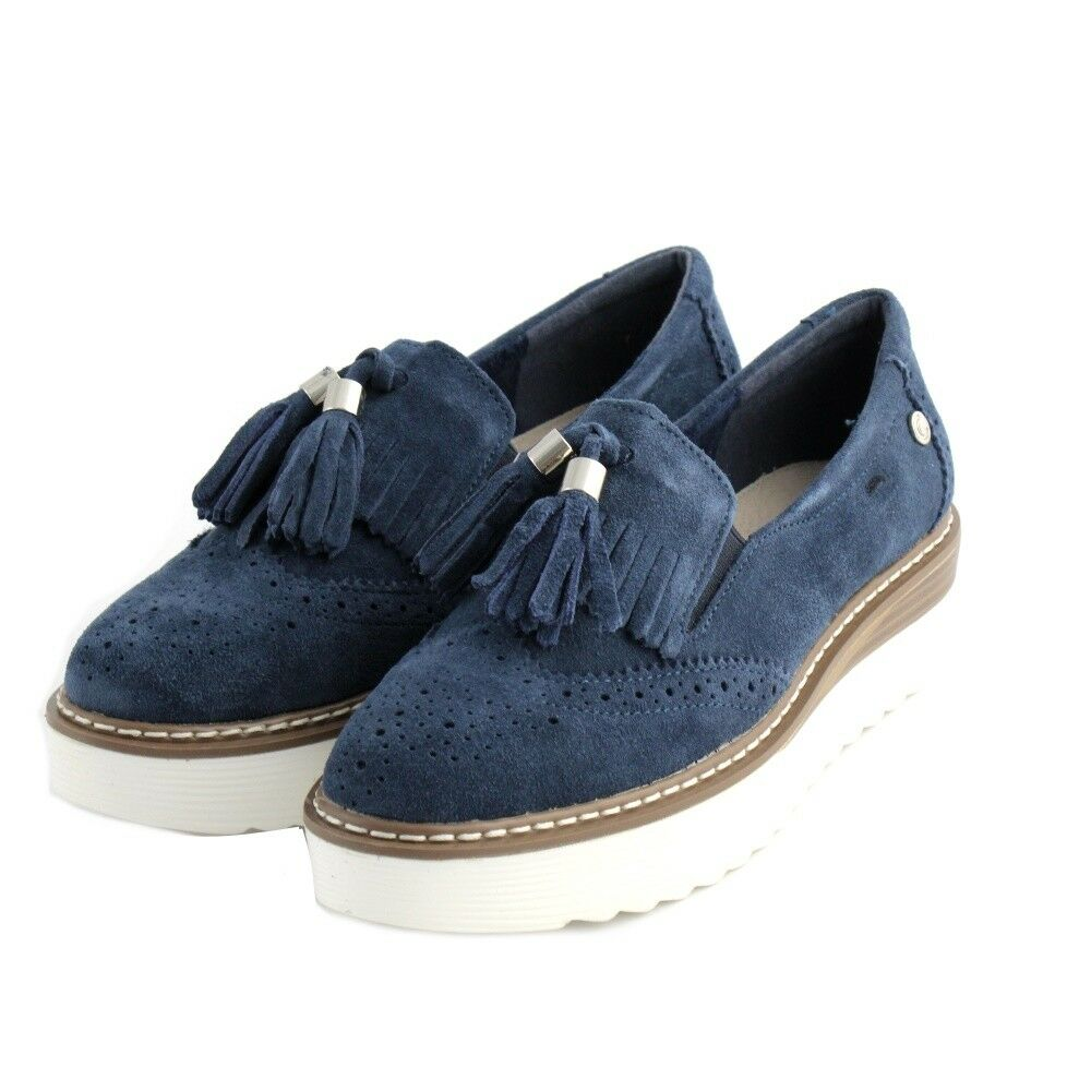 shoes moccasins slipon Carmela woman suede bluee jeans tassels style english