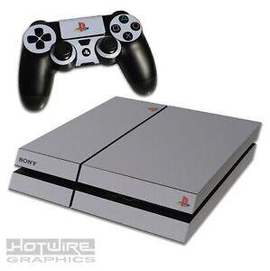 Playstation-4-PS4-Skin-Sticker-Kit-Anniversary-Style-Grey-Colour-Retro-Logo