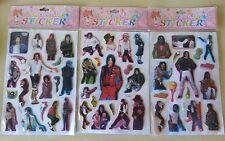 Lotto 3 sticker Michel Jackson adesivi musica music stickers stencil king of pop