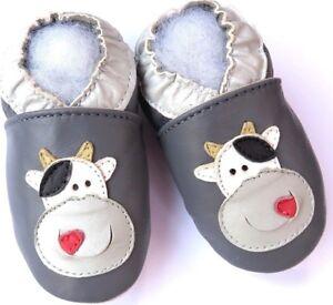 Minishoezoo-3-4-Y-Kleinkind-Weiche-Sohle-Leder-Babyschuhe-Kuh-Grau
