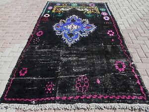 Black Pink Overdyed Rug Area Rugs
