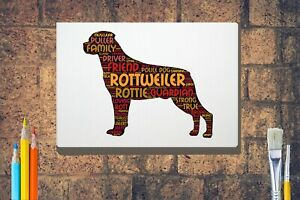 Rottweiler-Word-Art-Rottie-Canvas-A4A3A2A1-Mothers-Day-Gift-Personalised-Option