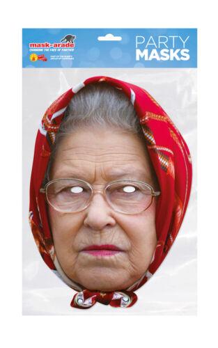 Queen Elizabeth Scarf Face Party Mask Card Fancy Dress Royal Family A4 Kids UK