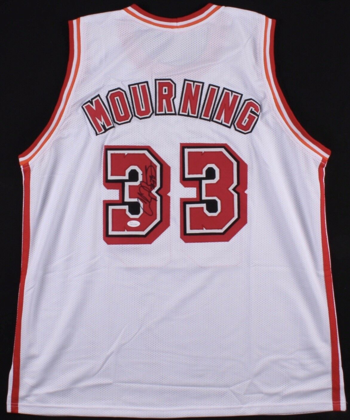 Alonzo Mourning Signed Heat Jersey