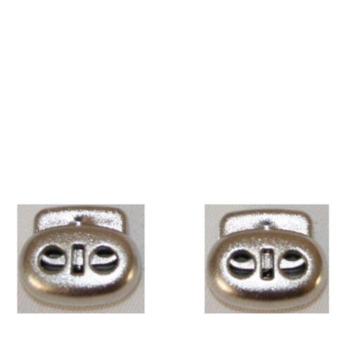 2 Kordelstopper mit 2 Löchern silberfarbig//satiniert