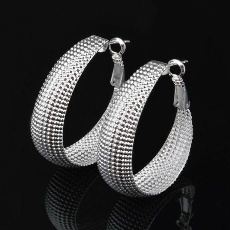 "Unique & Elegant Pure 925 Sterling Silver Big Hoop 1.5"" Fashion Earrings"