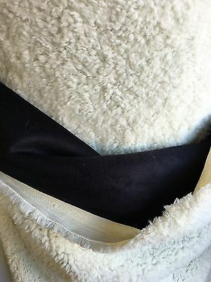 Black Suede Backing Sherpa Fuax Fur Sheep Soft Fabric Sold By The Yard