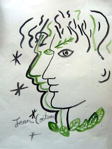 J-Cocteau-Signed-watercolor-on-paper-Profiles-Entrelaces-aux-Etoiles-COA