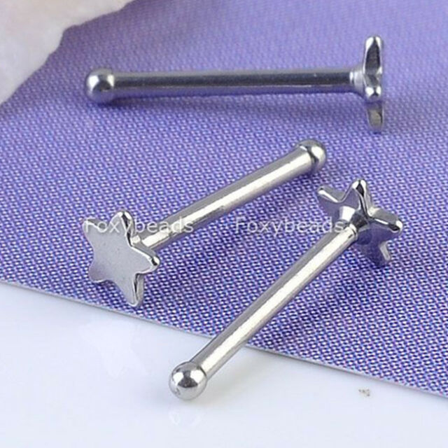10X Stainless Steel Star Nose Rings Bone Stud Body Piercing Punk 20G Hot Gift