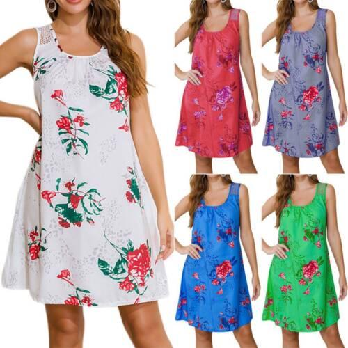 Women/'s Midi Dresses A-Line Swing Tank Dress T-Shirt Dress Summer Loose Sundress