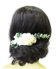 Ivory Cream Eucalyptus Leaf Flower Hair Comb Hibiscus Bridal Bridesmaid Vtg 1664