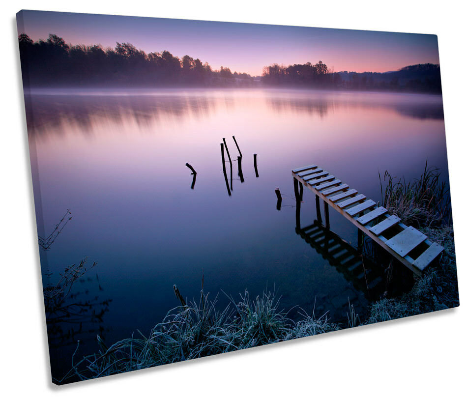 Lake Jetty Landscape Sunset Bild SINGLE CANVAS Wand Kunst Drucken