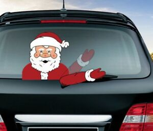 Christmas-Waving-Santa-Car-Wiper-Sticker-Decal-Tags-Decoration-Rear-Window