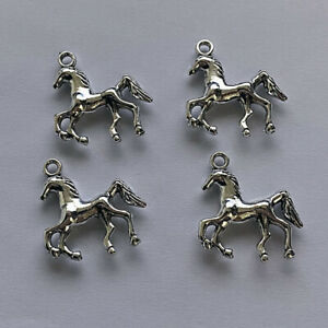 8Pcs Horse Charms for Bracelets Silver tone Necklace Pendants for Jewelry