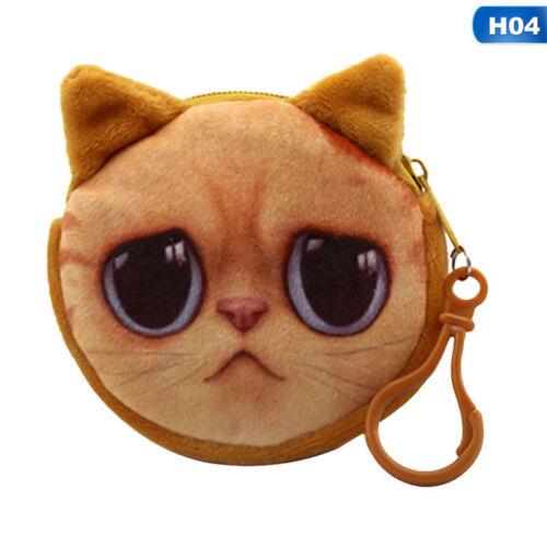 3D Portemonnaie Tasche Tier-Gesicht Reißverschluss Mini Katze Geldbörse Hund