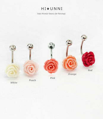 Red Metal Rose Flower 14G Belly Navel Ring Body Jewelry